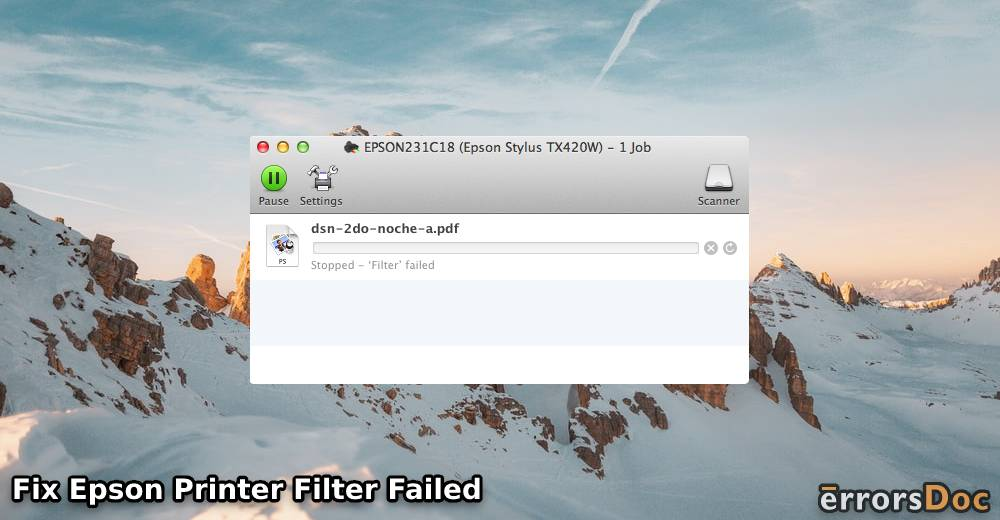 Fix Epson Printer Filter Failed or Stopped on Mac Error