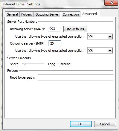 Advanced Settings to setup aol email