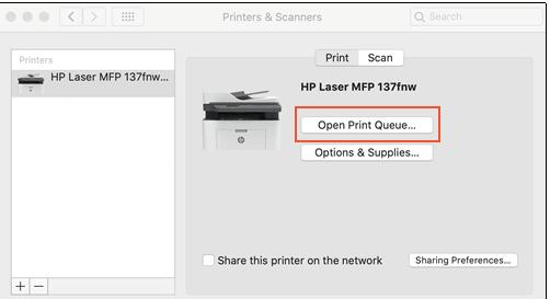 """Open the """"Print Queue"""" - hp printer cancel all jobs"""