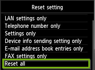 "Choose ""Reset All""."